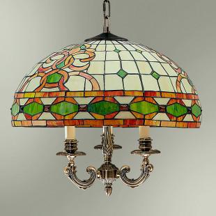 Светильник подвесной с абажуром в стиле Тиффани